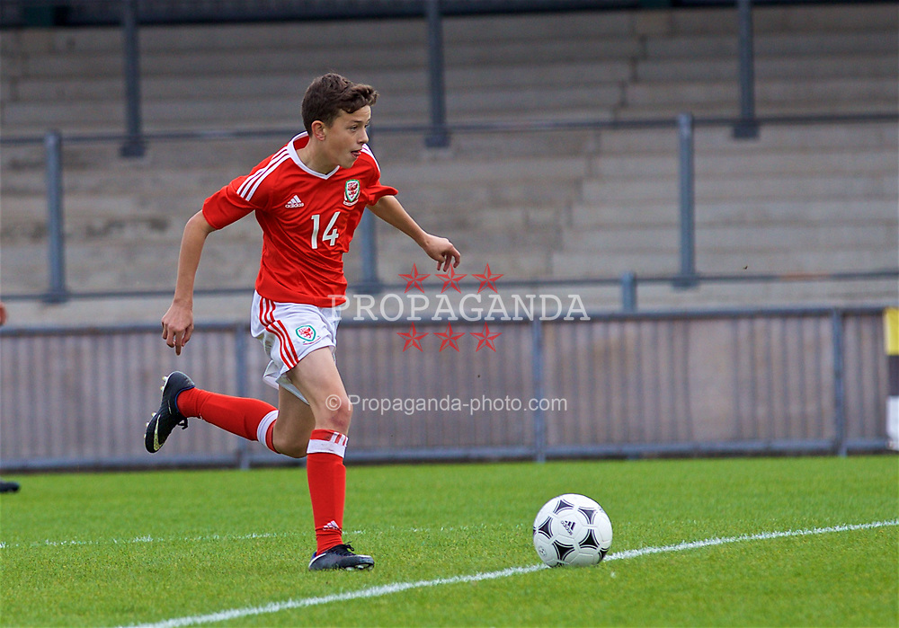 NEWPORT, WALES - Sunday, September 24, 2017: Wales' Owen Beck scores the second goal during an Under-16 International friendly match between Wales and Gibraltar at the Newport Stadium. (Pic by David Rawcliffe/Propaganda)