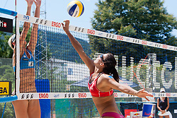 Deborah Giaoui of France vs Andreja Vodeb of Slovenia at A1 Beach Volleyball Grand Slam presented by ERGO tournament of Swatch FIVB World Tour 2012, on July 17, 2012 in Klagenfurt, Austria. (Photo by Matic Klansek Velej / Sportida)