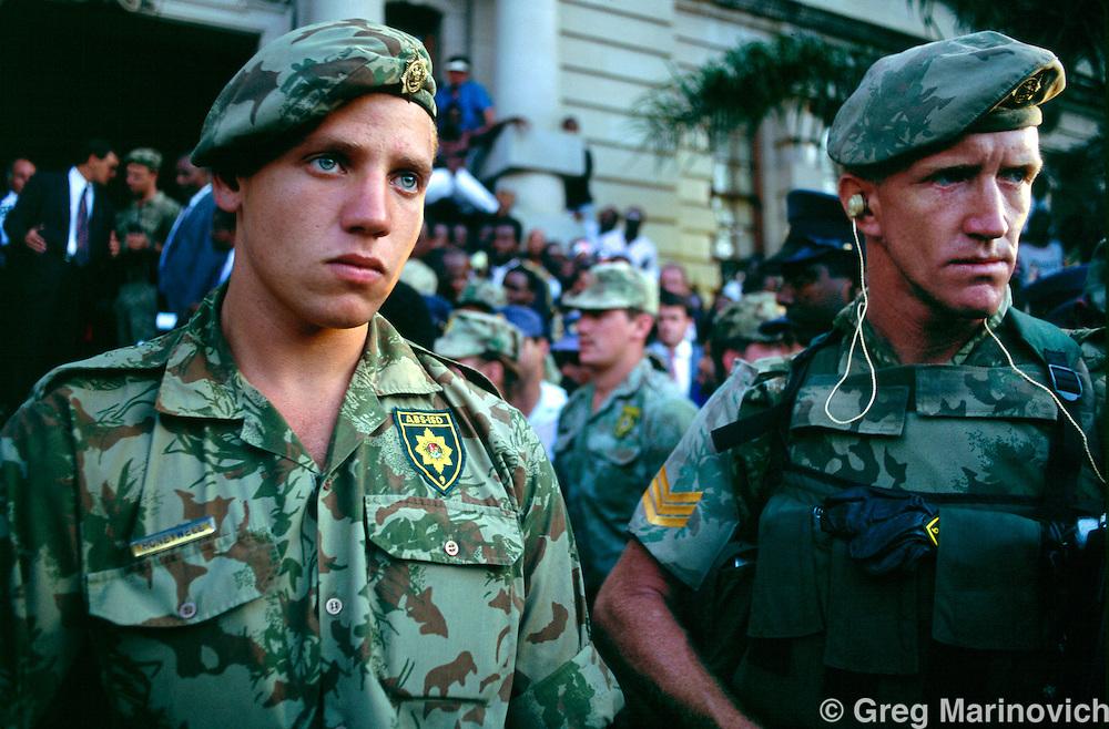 Durban, KwaZulu Natal, South Africa. Security for the De Klerk speech Durban, South Africa, 1994
