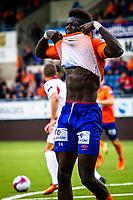1. divisjon fotball 2018: Aalesund - Levanger (4-0). Aalesunds Pape Habib Gueye etter å ha misbrukt ens tor sjanse i kampen i 1. divisjon i fotball mellom Aalesund og Levanger på Color Line Stadion.