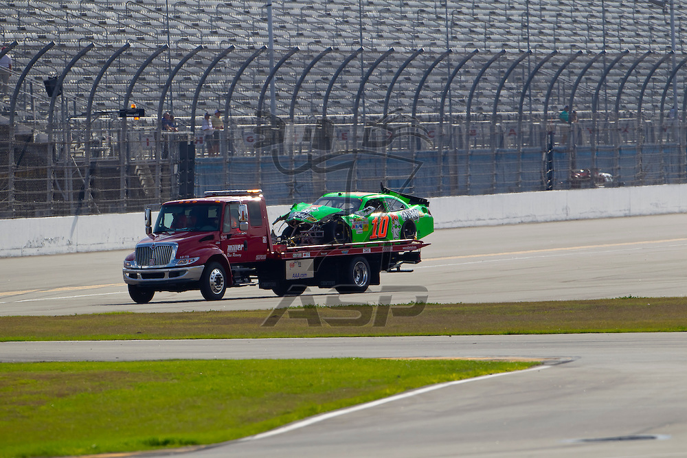 Daytona Beach, FL - Feb 23, 2012: Danica Patrick (10) spins off of turn 2 and wrecks during the Gatorade Duel 1 race at the Daytona International Speedway in Daytona Beach, FL.