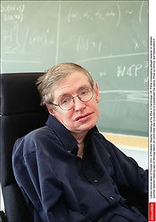 Liibrary picture taken in October 2001 of Professor Stephen Hawking at his office in Cambridge, UK. Police investigating alleged assaults on disabled scientist Stephen Hawking said on Monday March 29, 2004 there was no evidence to substantiate the claims. Photo by Ammar Abd Rabbo/ABACA  | 57883_05