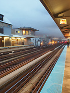 An April evening at the Armitage L Station, north side of Chicago.