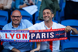 CARDIFF, WALES - Thursday, June 1, 2017: Olympique Lyonnais supporters during the UEFA Women's Champions League Final between Olympique Lyonnais and Paris Saint-Germain FC at the Cardiff City Stadium. (Pic by David Rawcliffe/Propaganda)