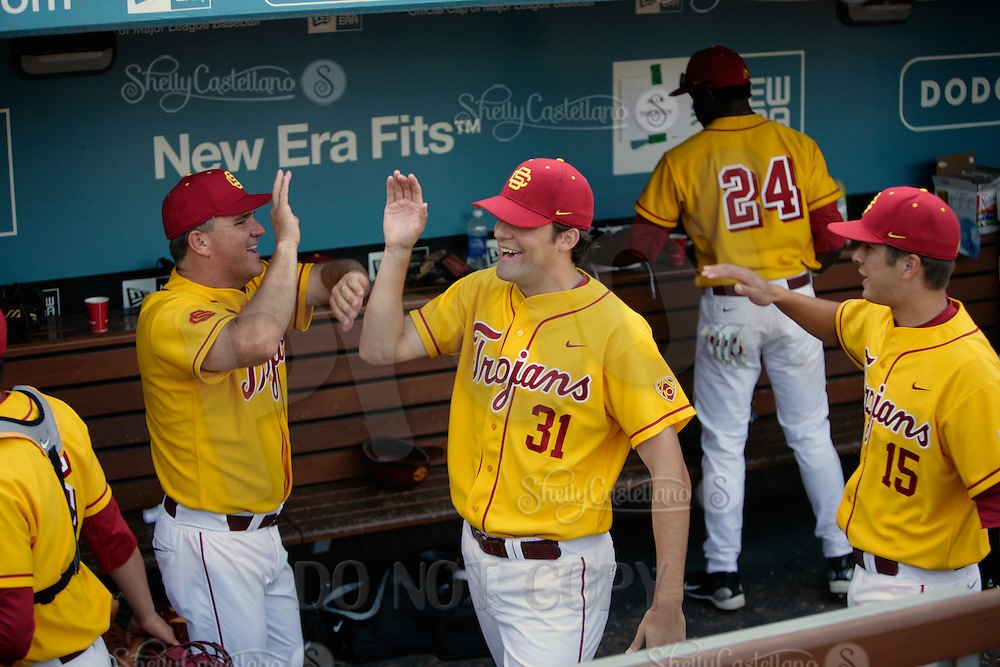 13 March 2011: NCAA Pac-10 college UCLA-USC sports rivalry baseball teams met in a non-conference game at Dodger Stadium as part of the Dodgertown Classic.  USC Trojans defeated the UCLA Bruins 2-0 during an afternoon weekend game inside the MLB stadium.  #31 Andrew Triggs.