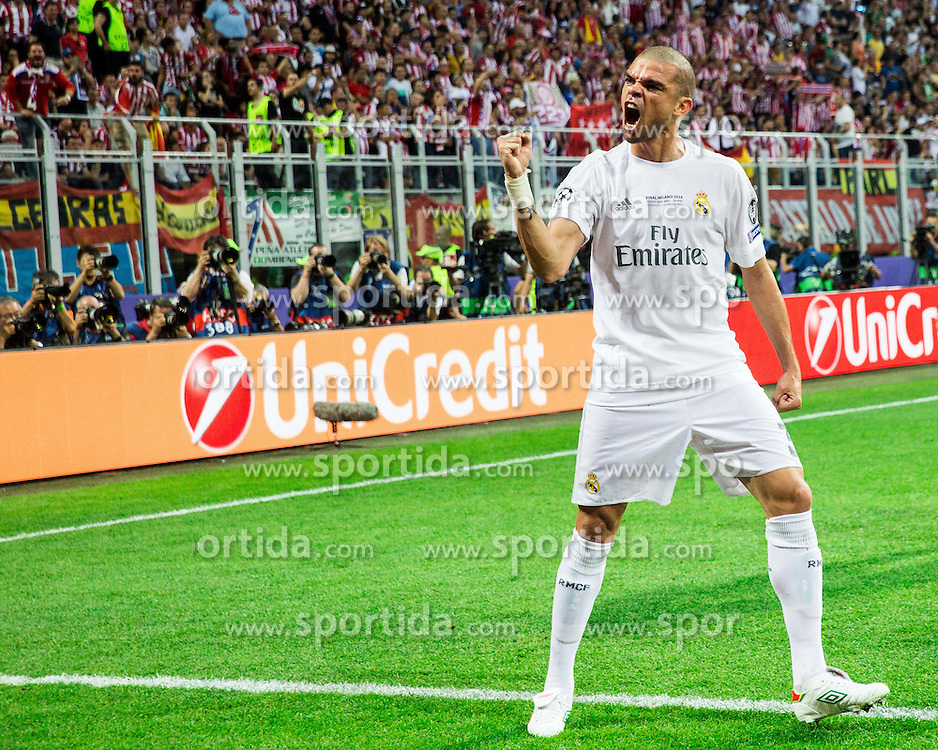 Pepe of Real Madrid celebrates after Sergio Ramos of Real Madrid scored first goal for Real during football match between Real Madrid (ESP) and Atlético de Madrid (ESP) in Final of UEFA Champions League 2016, on May 28, 2016 in San Siro Stadium, Milan, Italy. Photo by Vid Ponikvar / Sportida