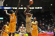 "Ole Miss' Reginald Buckner (23) shoots vs. McNeese State's Austin Lewis (44) at the C.M. ""Tad"" Smith Coliseum in Oxford, Miss. on Tuesday, November 20, 2012. .."