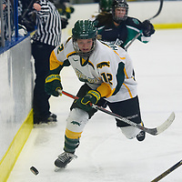 2nd year forward Chelsea Hallson (12) of the Regina Cougars in action during the Women's Hockey home game on December 1 at Co-operators arena. Credit: Arthur Ward/Arthur Images
