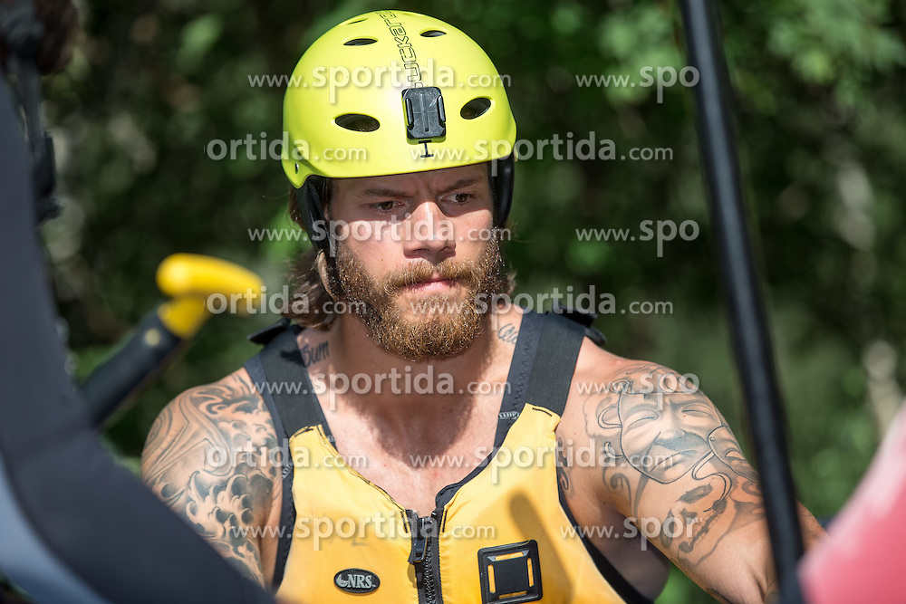 14.07.2015, Ainet, AUT, Eishockey Cracks bei Raftingtour auf der Isel, im Bild Thomas Raffl (EC Red Bull Salzburg // Hockey Cracks during a rafting tour on the East Tyrolean glacial river Isel Ainet, Austria on 2015/07/14. EXPA Pictures © 2015, PhotoCredit: EXPA/ Johann Groder