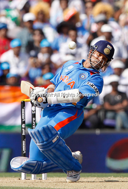 12.03.2011 Cricket World Cup India v South Africa from Nagpur.Sachin Tendulkar of india leaves a ball during the match of the ICC Cricket World Cup between India and South Africa.