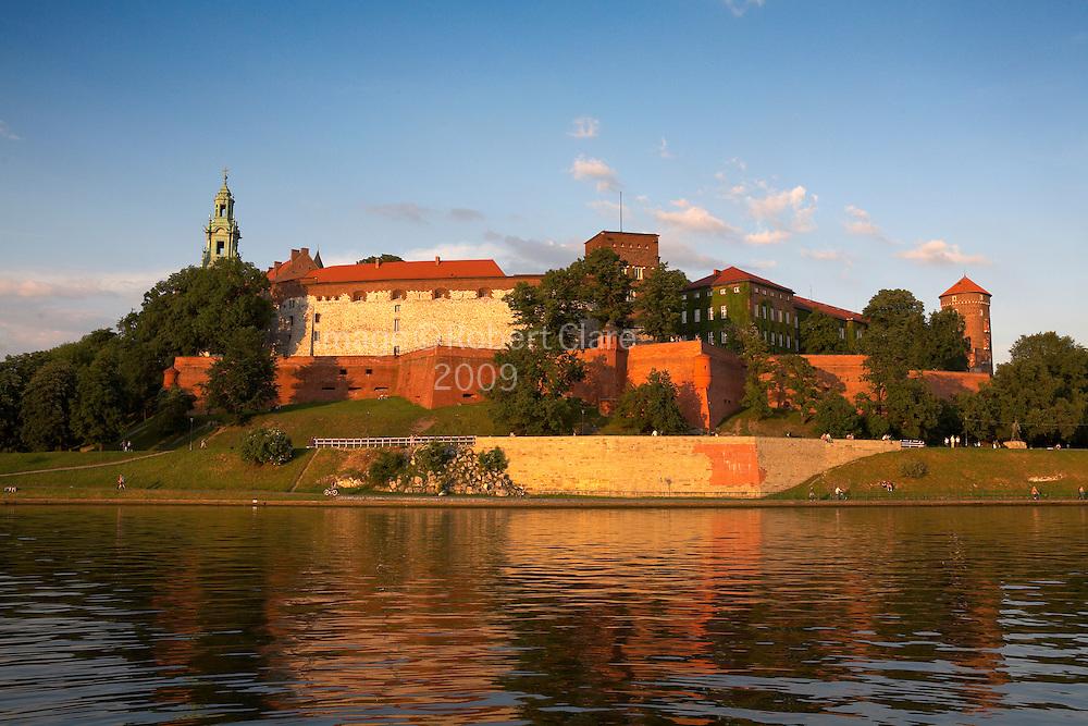 Eastern Europe Poland Malopolska Region Krakow Royal Wawel Hill Cathedral Castle River Vistula