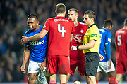 Alfredo Morelos (#20) of Rangers FC is frustrated after giving away a foul during the Ladbrokes Scottish Premiership match between Rangers and Aberdeen at Ibrox, Glasgow, Scotland on 5 December 2018.