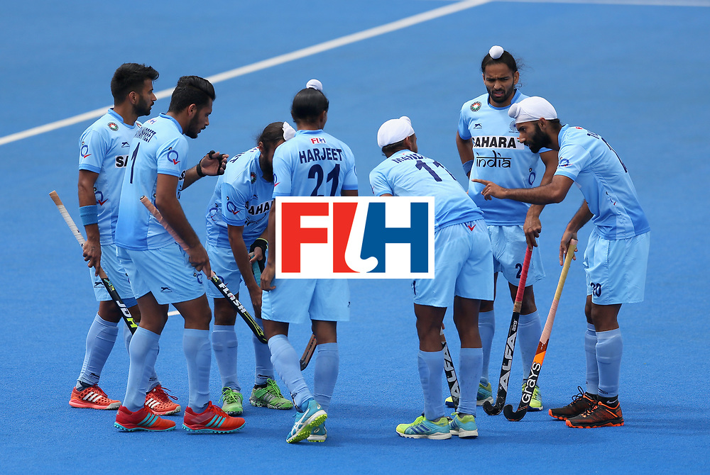 LONDON, ENGLAND - JUNE 25:  India team huddle during the 5th/6th place match between India and Canada on day nine of the Hero Hockey World League Semi-Final at Lee Valley Hockey and Tennis Centre on June 25, 2017 in London, England.  (Photo by Steve Bardens/Getty Images)