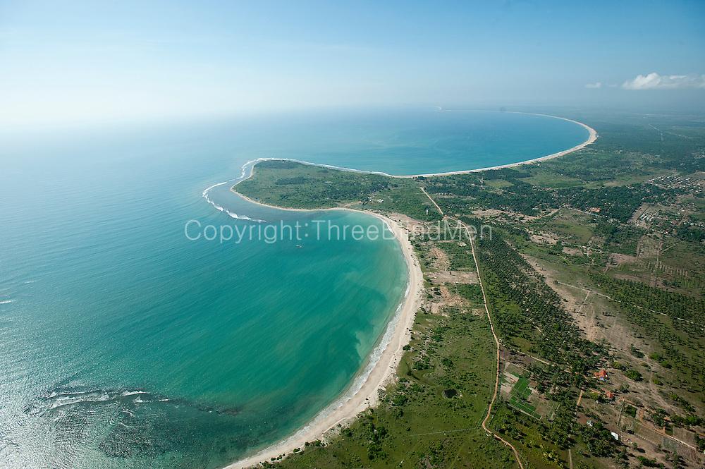 Aerial view over the East Coast bays of Passikudah and Kalkudah.