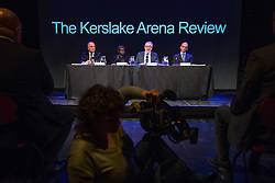 © Licensed to London News Pictures . FILE PICTURE DATED 23/05/2017 as Manchester prepares to mark a year since the Manchester Arena terror attack . Salford, UK. Panel: ALAN GOODWIN, VENERABLE KAREN LUND, BOB KERSLAKE and HUGH DEEMING The Kerslake Report in to the terrorist bombing of an Ariana Grande concert at the Manchester Arena on 22nd May 2017 , ordered by Greater Manchester Metro Mayor Andy Burnham , is published at a press conference at the University of Salford , at Media City . Amongst praise for many connected with the events, the report also highlights failings in communication at Greater Manchester Fire and Rescue on the night and disreputable behaviour by some sections of the media in the aftermath of the attack . Photo credit : Joel Goodman/LNP