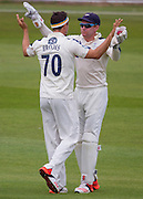 Jack Brooks  celebrates with wicket keeper Jonathan M Bairstow after (Yorkshire CCC) taking the wicket of Chris Rushworth (Durham County Cricket Club) during the LV County Championship Div 1 match between Durham County Cricket Club and Yorkshire County Cricket Club at the Emirates Durham ICG Ground, Chester-le-Street, United Kingdom on 30 June 2015. Photo by George Ledger.