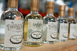 Samples of Gin at Dunnet Bay Distillery in Caithness on  the North Coast 500 scenic driving route in northern Scotland, UK