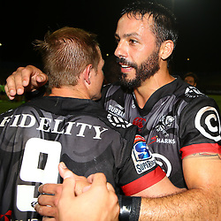 Michael Claassens of the Cell C Sharks with Clement Poitrenaud of the Cell C Sharks during The Cell C Sharks Pre Season warm up game 2 Cell C Sharks A and Toyota Cheetahs A,at King Zwelithini Stadium, Umlazi, Durban, South Africa. Friday, 3rd February 2017 (Photo by Steve Haag)
