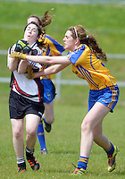 Clare's Bríd Foran  and Sligo's Katie Gallagher  in the All ireland U14 C championship final in Kilkerrin-Galway Photo: Andrew Downes..