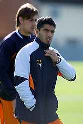 LIVERPOOL, ENGLAND - Wednesday, October 3, 2012: Liverpool's Luis Alberto Suarez Diaz during a training session at Melwood Training Ground ahead of the UEFA Europa League Group A match against Udinese Calcio. (Pic by David Rawcliffe/Propaganda)