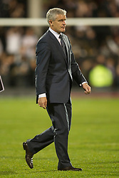 LONDON, ENGLAND - Monday, May 9, 2011: Fulham's manager Mark Hughes looks dejected as he trudges across the pitch to the dressing rooms after seeing his side thrashed 5-2 by Liverpool during the Premiership match at Craven Cottage. (Photo by David Rawcliffe/Propaganda)