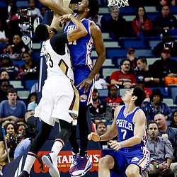 Dec 8, 2016; New Orleans, LA, USA;  Philadelphia 76ers center Joel Embiid (21) blocks a shot by New Orleans Pelicans forward Anthony Davis (23) during the first quarter of a game at the Smoothie King Center. Mandatory Credit: Derick E. Hingle-USA TODAY Sports