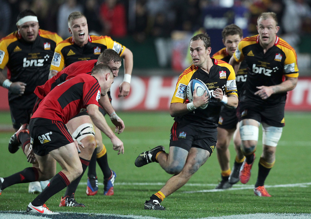Chiefs' Andrew Horrell in action during the Crusaders in a Super Rugby semi final match, Waikato Stadium, Hamilton, New Zealand, Saturday, July 27, 2013.  Credit:SNPA / David Rowland