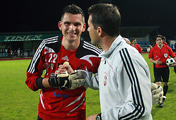 Goalkeeper of Interblock Matjaz Rozman (22) and Head coach of Interblock Dragan Skocic at Slovenian Supercup between NK Domzale and NK Interblock, on July 9, 2008, in Domzale. Interblock won the mach and Supercup 7:6 after penalty shots.. (Photo by Vid Ponikvar / Sportal Images)