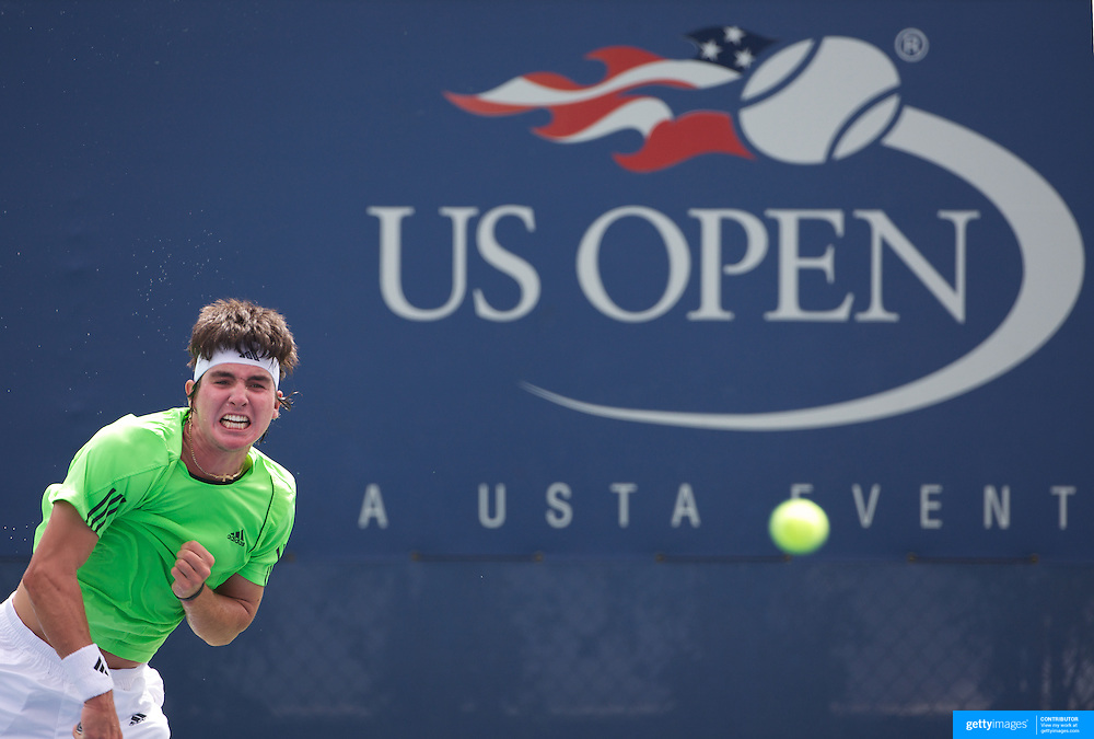 Chase Buchanan, USA, in action against Bernard Tomic, Australia during the Boy's Junior Final won by Tomic in straight sets at the US Open Tennis Tournament at Flushing Meadows, New York, USA, on Sunday, September 13, 2009. Photo Tim Clayton.