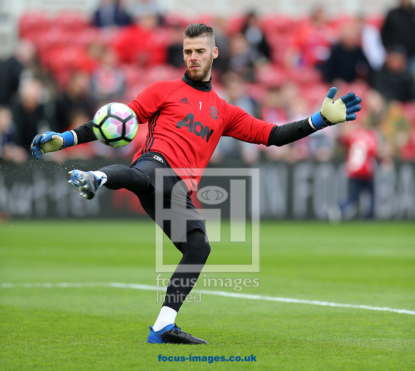 David De Gea of Manchester United prior to the Premier League match at the Riverside Stadium, Middlesbrough<br /> Picture by Simon Moore/Focus Images Ltd 07807 671782<br /> 19/03/2017
