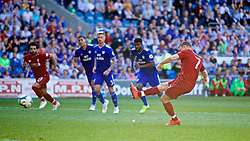 CARDIFF, WALES - Saturday, April 20, 2019: Liverpool's captain James Milner scores the second goal from a penalty kick during the FA Premier League match between Cardiff City FC and Liverpool FC at the Cardiff City Stadium. (Pic by David Rawcliffe/Propaganda)