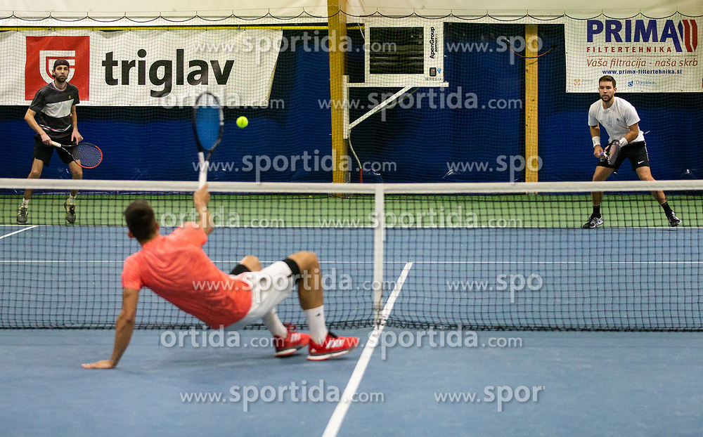 Toni Hazdovac and Sven Lah playing final match during Slovenian men's doubles tennis Championship 2019, on December 29, 2019 in Medvode, Slovenia. Photo by Vid Ponikvar/ Sportida