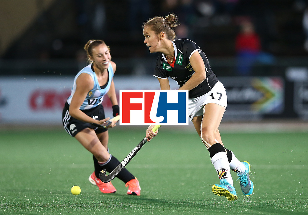 JOHANNESBURG, SOUTH AFRICA - JULY 20:  Jana Teschke of Germany controls the ball from Florencia Habif of Argentina during day 7 of the FIH Hockey World League Women's Semi Finals semi final match between Germany and Argentina at Wits University on July 20, 2017 in Johannesburg, South Africa.  (Photo by Jan Kruger/Getty Images for FIH)