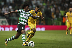 October 31, 2017 - Lisbon, Portugal - Sporting's forward Gelson Martins vies with Juventus's defender Alex Sandro during the Champions League  football match between Sporting CP and Juventus FC at Jose Alvalade  Stadium in Lisbon on October 31, 2017. (Credit Image: © Carlos Costa/NurPhoto via ZUMA Press)