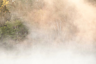 Morning mist along the Michigamme River near Republic Michigan.