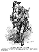 """The Old Man of The Sea. Sinbad the Kaiser. """"This submarine business is going to get me into trouble with America; But what can an all-powerful do with a thing like this on his back?"""" (Wilhelm II carries Admiral von Tirpitz, dressed as a pirate with Lusitania in his pocket during WW1)"""