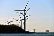 Nederland, Rotterdam, 3-3-2015Windmolens in de Rijnmond, Rotterdamse haven. Hier aan ingang, monding van de nieuwe waterweg bij de Noordzee FOTO: FLIP FRANSSEN/ HOLLANDSE HOOGTE