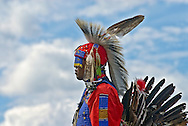 New York, Southampton, Shinnecock Powow, Shinnecock Indian Nation, Indian profile against blue clouds