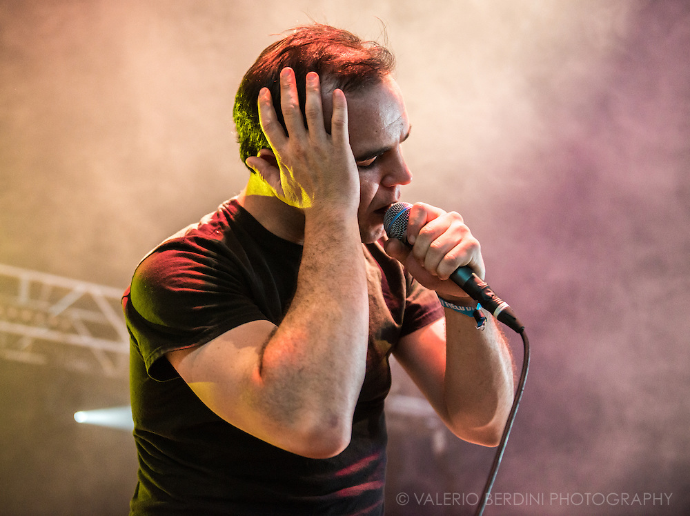 Samuel T. Herring frontman of Future Islands headlining Shackwell arms stage at Field Day festival in London Victoria Park on 8 June 2014
