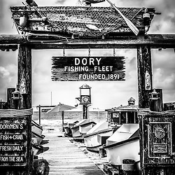 Dory Fishing Fleet Market black and white picture. The Dory Fishing Fleet is a historic landmark located on Balboa Peninsula in Newport Beach, Orange County, Southern California. Dory Fishing Fleet Market is a public market where dory fisherman sell their daily catch and is a popular local attraction. Photo Copyright © 2012 Paul Velgos with All Rights Reserved.