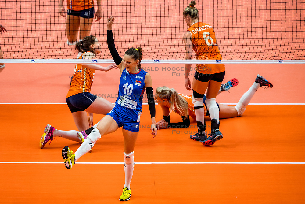 19-10-2018 JPN: Semi Final World Championship Volleyball Women day 18, Yokohama<br /> Serbia - Netherlands / Maja OgnjenovicC #10 of Serbia, Lonneke Sloetjes #10 of Netherlands, Laura Dijkema #14 of Netherlands