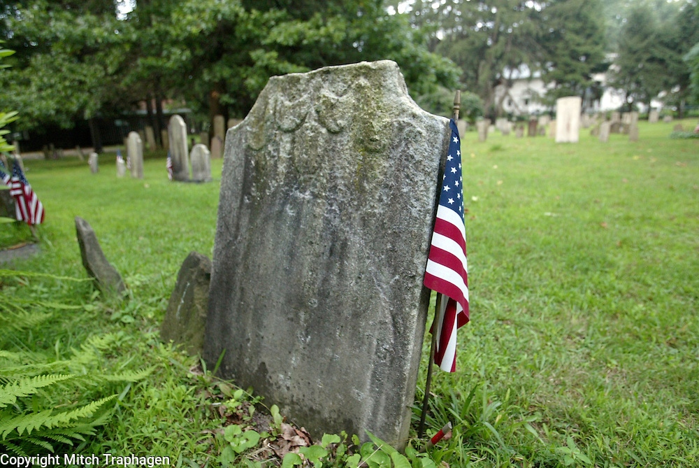 Veterans are remembered at the cemetery in Rhinebeck, New York.  Flags were placed near the graves of soldiers of all wars in American History.