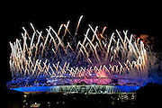 Fireworks explode over the Olympic Stadium  during the opening ceremony of the London 2012 Summer Olympic Games.