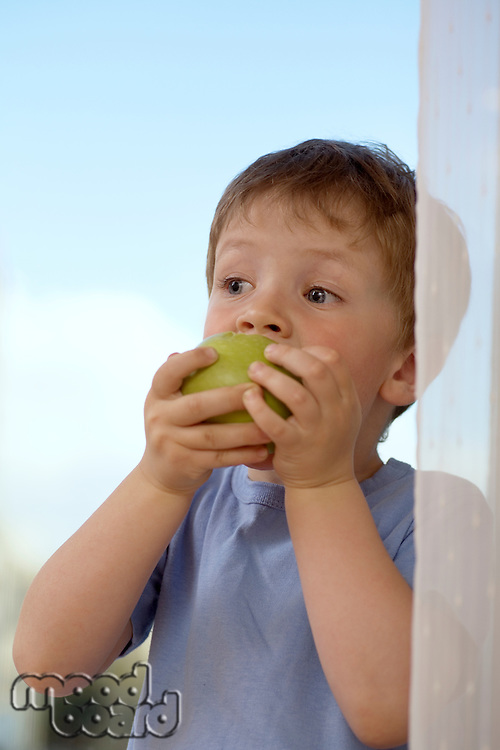Young boy biting into an apple
