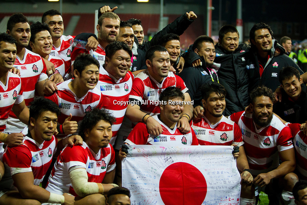 11.10.2015. Kingsholm Stadium, Gloucester, England. Rugby World Cup. USA versus Japan. The Japanese team pose for a post-match photograph.