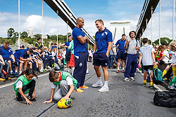 Tom Varndell and Gareth Maule look on as Local Junior Schools take part in activities on the iconic Clifton Suspension Bridge with Bristol Rugby Players - Mandatory byline: Rogan Thomson/JMP - 07966 386802 - 14/07/2015 - SPORT - RUGBY UNION - Bristol, England - Clifton Suspension Bridge - Webb Ellis Cup visits Bristol as part of the 2015 Rugby World Cup Trophy Tour