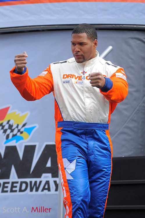 Feb. 13, 2010; Daytona Beach, FL, USA; Former NFL great and race grand marshall Michael Strahan prior to the Drive4COPD 300  at Daytona International Speedway. ©2010 Scott A. Miller