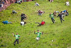 © Licensed to London News Pictures. 25/05/2015. Brockworth, Gloucestershire, UK.  Chris Anderson from Brockworth (front left in green shirt) on his way to winning the first mens' race at the annual traditional Cheese Rolling races, which by custom take place on Bank Holiday Monday.  Chris has won 14 Cheese Rolling races over the years.  Participants race down the very steep Coopers Hill chasing a Double Gloucester Cheese, and injuries sometimes happen. Photo credit : Simon Chapman/LNP