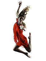 one caucasian woman dancer modern dancing isolated on white background in  silhouette