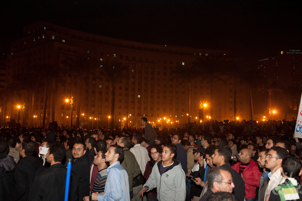 "Thousands of Egyptian protesters continue to demonstrate late into the night in Tahrir Square January 25, 2011 during ""Day of Anger"" demonstrations in downtown Cairo, Egypt. Today's protests across Egypt, inspired by the revolution in Tunisia, were organized by a wide range of opposition groups and intended to spark a similar movement in Egypt. Slug: Egypt.Credit: Scott Nelson for the New York Times"